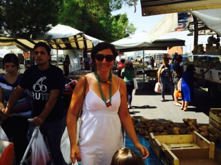 Liliana at a market in Sicily