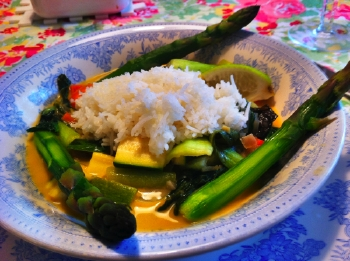 Mixed garden veggies and rice