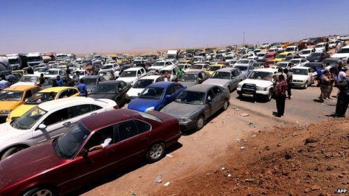 A sea of cars in retreat