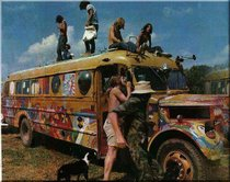Woodstock Hog Farm Bus w/ Campbell Hair on roof